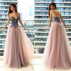 Strapless long prom dress,sexy evening dress with tulle - Prom Dresses A Line Prom Dresses, Tulle Prom Dress, Cheap Prom Dresses, Sexy Dresses, Strapless Dress Formal, Dresses Uk, Party Dresses, Pink Dresses, Prom Gowns