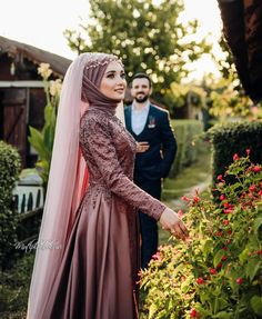 red plus size gothic wedding dresses Muslimah Wedding Dress, Hijab Style Dress, Muslim Wedding Dresses, Muslim Brides, Bridal Dresses, Dress Outfits, Dress Wedding, Hijab Chic, Muslim Couples