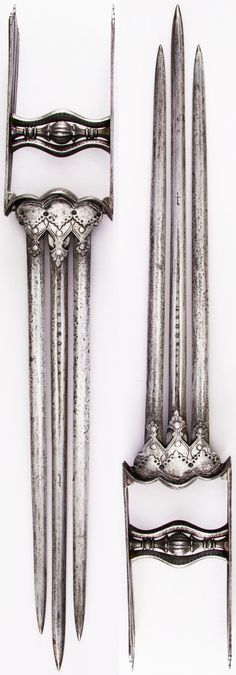 Indian katar, from Thanjavur (formerly Tanjore) in South India, 16th century, triple European blades. Dimensions: L. 21 1/8 in. (53.7 cm); W. 3 3/16 in. (8.1 cm); Wt. 23.9 oz. (677.6 g), Met Museum. Bequest of George C. Stone, 1935. #5