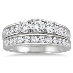 1 1/2 Carat Three Stone Diamond Bridal Set in 10K White Gold