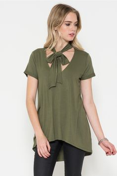 Jersey Roll Up Sleeve Tie Neck Top - Pre-Order