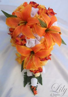 17 pcs Wedding Cascade Bridal Bouquet Corsages Silk Flower Teardrop ORANGE WHITE