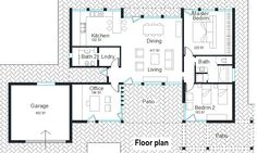 Kitchen/dining/living layout.
