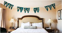 """Homemade teal colored bunting banner """"From Miss to Mrs"""" inside the Warwick Hotel bridal suite in downtown Denver Colorado. - April O'Hare Photography http://www.apriloharephotography.com #DenverWedding #WarwickHotelDenver #WarwickHotel #WarwickHotelBridalSuite #ColoradoWedding #DenverWeddingPhotographer #WarwickDenver #TealBanner"""