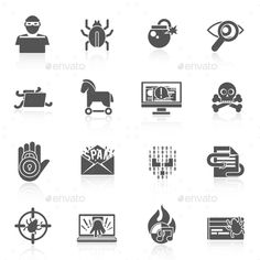 Hacker Icons Black Set by macrovector Hacker black icons set with bug virus crack worm spam isolated vector illustration. Editable EPS and Render in JPG format