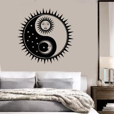 Vinyl Wall Decal Sun Moon Stars Bedroom Home Interior Stickers Unique Gift on Wanelo Moon Drawing, Wall Drawing, Sun Moon Stars, Sun And Stars, Star Bedroom, Bedroom Wall, Yin Yang Art, Star Wall, Yoga Art