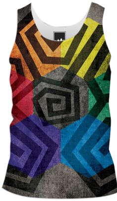 Geometric Abstract Colorful Cool Men Tank Top from Print All Over Me