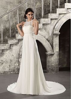 Elegant  Chiffon &  Satin & Tulle With Lace Appliques A-line High Neck Empire Waist Full Length Wedding Dress