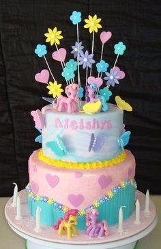 Flowers, Butterflies & Ponies Cake