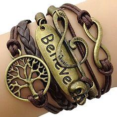 pulseira de couro amor liga multicamada e coração pulseira artesanal infinito de 2016 por $1.99