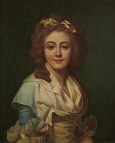 Attribué à Marie-Geneviève BOULIARD (1763-1825) - Portrait de femme à la robe