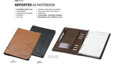 Leather Notebook Reporter Notebook PU Notebook Ring Binder Notebook Refillable Pen Loop Business/ Credit Card Pockets Soft Suede Inner Linning – Brown Cream Paper Brand by Embossing Dimensions : 210 × 148 mm (L x W) Colours : Black or Tan
