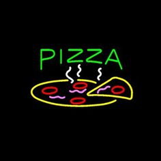 This bright, colorful handcrafted neon sign will look more pretty in real eyes. hand-made, gas-filled, real glasstube neon signs! This real neon sign will add fun and eye-catching accent in scenarios limited only by your imagination. Restaurant Fast Food, Pizza Restaurant, Neon Open Sign, Open Signs, Promo Pizza, Pizza Sign, New Pizza, Pizza Food, Food Wallpaper