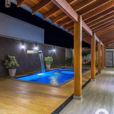 Backyard Pool Designs, Small Backyard Pools, Patio Design, Exterior Design, 6 Bedroom House Plans, Pool House Plans, Small Swimming Pools, Swimming Pools Backyard, House Awnings