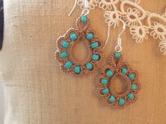 Tatting Hand Tatted Earrings by sewingnanac on Etsy