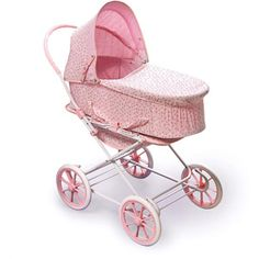 Baby Girls Dolls Moses Basket /& Wooden Stand Rosebud Pink-Ideal For Christmas