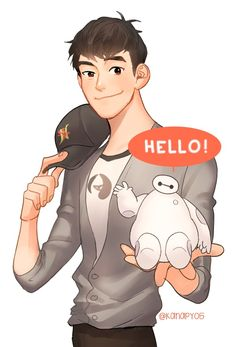Tadashi with a little bitty Baymax
