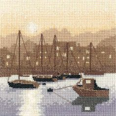 Harbour Lights (PSHL973)  Sepia style silhouette Cross stitch kit design by Phil Smith for Heritage Crafts.  Contents: 14 count aida or 28 count evenweave fabric, chart, needle, DMC cotton threads and full instructions.  Size: 12.5cm x 12.5cm.  *Please allow upto 7 working days for dispatch*   See our full range of Sepia style designs