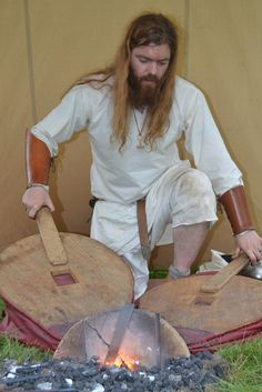 Bjorn of Svartland with the ground forge.  Pic by Richard Delingpole.