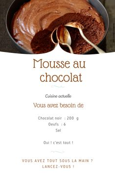 Authentique et délicieuse mousse au chocolat - Appetizer Recipes Easy Chocolate Desserts, Chocolate Mousse Recipe, Delicious Chocolate, Easy Desserts, Delicious Food, Mousse Dessert, Desserts With Biscuits, Mexican Dessert Recipes, Relleno