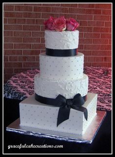 Classic White and Black Wedding Cake by Graceful Cake Creations, via Flickr