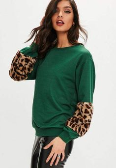 Green Leopard Faux Fur Sleeve Sweatshirt, Green