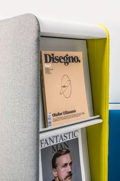 Cascando's Pillow Space by Robert Bronwasser, magazine holder, brochure holder, room divider, space divider, acoustic solution