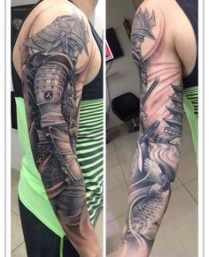 Get to witness the most amazing samurai tattoos design 2019 here. We have the most splendid art styles that will tell you all the samurai tattoo meaning as well as the samurai tattoo back,arm, and even your leg. Japanese Tattoo Designs, Japanese Sleeve Tattoos, Full Sleeve Tattoos, Tattoo Sleeve Designs, Leg Tattoos, Body Art Tattoos, Arm Tattoos For Guys, Tattos, Samurai Tattoo Sleeve