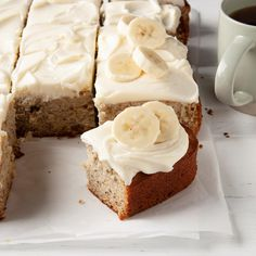 As a mother of three sons, I know that sweets are a staple in my kitchen! I buy ripe fruit on sale and freeze it to make this cake. My banana cake with cream cheese frosting is a favorite among loved ones at my family picnics and dinners. Frosting Recipes, Cake Recipes, Dessert Recipes, Recipes Dinner, 13 Desserts, Delicious Desserts, Food Cakes, Cupcake Cakes, Cupcakes