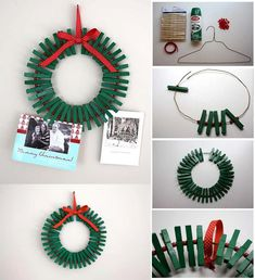 Use a wire hanger, paint and clothespins to make this adorable Christmas wreath.