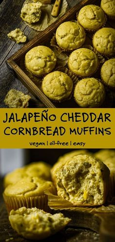"Vegan Jalapeño Cheddar Cornbread Muffins are easy to make, a little sweet with some heat, and wonderfully ""cheesy."" They're perfect for your favorite chili or soup and bake up so tender and moist. Jalapeno Cheddar Cornbread, Vegan Cornbread, Cornbread Muffins, High Protein Vegan Recipes, Vegan Dessert Recipes, Delicious Vegan Recipes, Whole Food Recipes, Yummy Food, Cheddar Cheese Sauce"