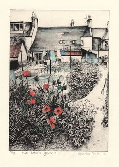 Mrs Booth's Garden Smelly Towels, Garden Painting, Garden Art, Etching Prints, Allotments, T Art, Landscape Illustration, Gcse Art, Etchings