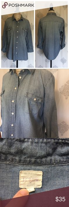 J. Crew Button-up Chambray Shirt from J. Crew. Excellent used condition, reposh. Offers welcome using the Offer button. No trades. J. Crew Tops Button Down Shirts