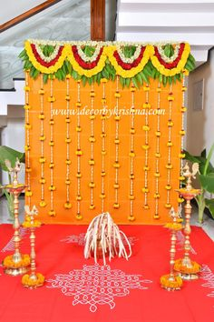Housewarming Decorations, Diy Diwali Decorations, Backdrop Decorations, Festival Decorations, Flower Decorations, Wedding Backdrop Design, Desi Wedding Decor, Simple Wedding Decorations, Naming Ceremony Decoration