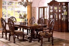 7 Pc Tuscany I Antique Cherry Finish Wood Elegant Formal Style Double Pedestal Dining Table Set This Includes The 2 Arm Chairs And 4 Side
