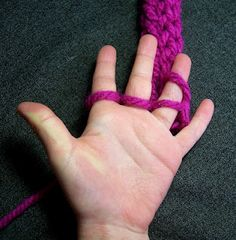 Finger knitting...