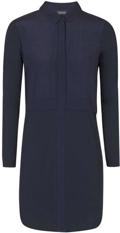 Womens french navy hybrid shirt dress - navy blue, navy blue from Topshop - £39 at ClothingByColour.com