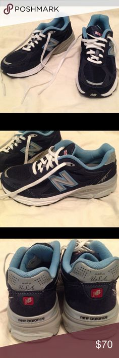 NWOT New Balance Round Toe Running Shoe Classic design combined w/ reliable cushioning & support of New Balance W990 are sure to carry you comfortably from mile zero through your last stride. A running shoe built for a moderate overpronator who requires a combination of cushioning & enhanced stability. And the colors are awesome! Shades of blue are offset by gray & white. In new condition, except center of sole of left shoe has red mark (see picture of shoe bottoms). Tag says size 6 1/2, but…