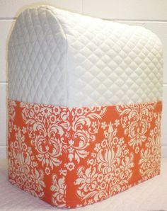 Cream Quilted Orange Damask Cover for 4.5, 5 or 6qt Kitchenaid Lift Bowl Stand Mixer w/6 Pockets