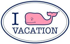 """Vineyard Vines """"I (Whale) Vacation"""" Car Oval"""