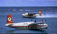 Old photo of the Sandringham flying boats which Ansett Airlines used prior to the building of the airstrip on Lord Howe Island (Australia)