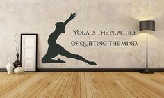 * Yoga Is The Practice Of Quieting The Mind Wall Decal Custom Size and Color Super Super Yoga Is The Practice Of . Home Yoga Room, Yoga Room Decor, Yoga Studio Home, Pilates Studio, Yoga Room Design, Yoga Studio Design, Gym Design, Mandala Art, Yoga Training
