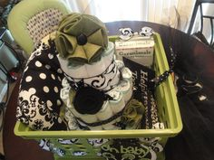 baby shower gift basket....includes baby blanket, diaper cake, tutu, etc. by Hailey Roberts