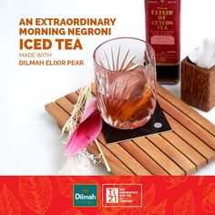 Create this not so ordinary, but extraordinary iced tea fit for Morning! What you need: Dilmah Elixir Pear - 45 ml Seedlip - 30 ml (Seedlip is not a non-alcoholic gin) Bitter Concentrate Syrup - 15 ml Orange Zest - 1 ml Orange Zest, Non Alcoholic, Iced Tea, Bitter, 21st Century, Syrup, Gin, Pear, Create
