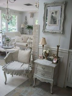 Creative And Inexpensive Useful Ideas: Shabby Chic Living Room Shelves shabby chic house office spaces.Shabby Chic Fabric Simple shabby chic curtains old doors. Decor, Shabby Chic Living Room, Shabby Chic Dresser, Chic Decor, Home Decor, Chic Bedroom, Shabby Cottage, Shabby Chic Furniture, Shabby Chic Living