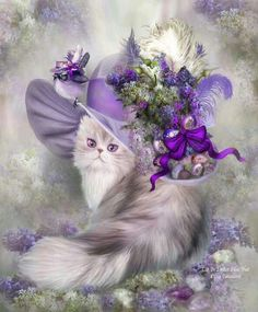 Cat in Easter Lilac Hat by Carol Cavalaris easter cat art hat purple painting illustration lavender lilacs Alfabeto Animal, Gatos Cats, Purple Cat, Purple Grey, Light Purple, Fancy Hats, Cat Hat, 5d Diamond Painting, Cross Paintings