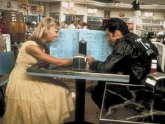 Olivia Newton-John as Sandy Olsson and John Travolta as Danny Zuko in Randal Kleiser's Grease - 1978 Grease 1978, Grease Movie, Grease 2, Musical Grease, Dirty Dancing, Movies Showing, Movies And Tv Shows, Virgin Suicides, Sandy And Danny
