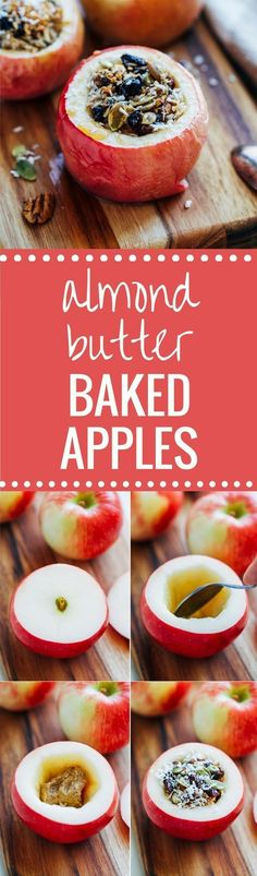 Sweet baked apples stuffed with melted vanilla almond butter and drizzled with pure maple syrup!