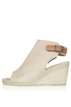 Nude leather espadrille wedge sandals with buckle fastening to the heel - Heel height: 3.5 inches (9 cm) - Also available in black