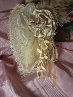 Beaded Silk Heart Sachet With Rose and Feathers by touchograce, $20.00